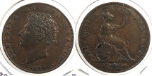 World Coins - GREAT BRITAIN: 1827 1/2 Penny