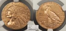 Us Coins - 1909 D Indian Head 5 Dollars NGC MS-62