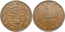 World Coins - MOZAMBIQUE: 1945 1 Escudo