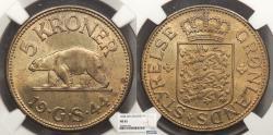 World Coins - GREENLAND Christian X 1944 5 Kroner NGC MS-63