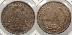 World Coins - URUGUAY: 1877-A 20 Centesimos