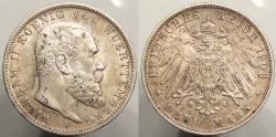 World Coins - GERMAN STATES: Wurttemberg 1909-F 3 Marks