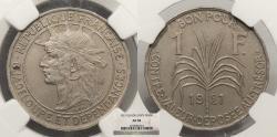 World Coins - GUADELOUPE 1921 Franc NGC AU-58