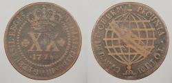 World Coins - BRAZIL: 1778 High Crown. 20 Reis