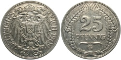 World Coins - GERMANY: 1909-G 25 Pfennig