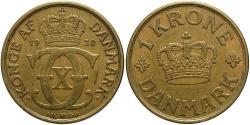 World Coins - DENMARK: 1938 1 Krone