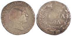 World Coins - INDIA Goa Pedro (Peter) V 1856 Rupia (Rupee = 600 Reis) Near VF