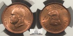 World Coins - LUNDY Martin Coles Harman 1929 1/2 Puffin NGC MS-64 RB