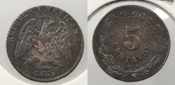 World Coins - MEXICO: 1889-Ga S 5 Centavos
