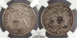 Us Coins - 1857 O Seated Liberty 25 Cents (Quarter) NGC EF-45