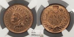 Us Coins - 1874 Indian Head 1 Cent NGC MS-63 BN