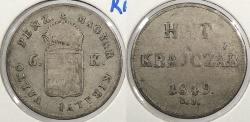 World Coins - HUNGARY: 1849 6 Krajczar