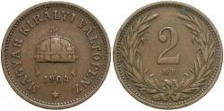 World Coins - HUNGARY: 1904-KB 2 Filler