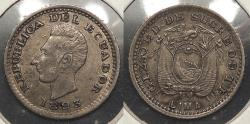 World Coins - ECUADOR: 1893 1/2 Decimo