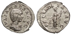 Ancient Coins - Julia Maesa, Grandmother of Elagabalus 218-222 A.D. Denarius Rome Mint EF
