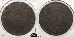 World Coins - URUGUAY: 1869-A 4 Centesimos