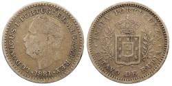 World Coins - INDIA Goa Luis I 1881 1/8 Rupee Fine