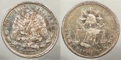 World Coins - MEXICO: 1877-Go S 124,000 struck. 25 Centavos