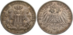 World Coins - GERMANY: Hamburg 1909 J 3 Mark