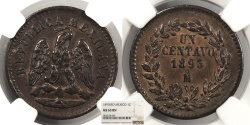 World Coins - MEXICO 1893-Mo Centavo NGC MS-63 BN