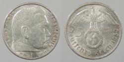 World Coins - GERMANY: 1939-A Hindenburg. 5 Mark