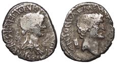 Ancient Coins - Cleopatra VII and Marc Antony 37-31 B.C. Denarius Alexandria Mint Near VF