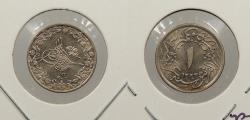World Coins - EGYPT: Abdul Hamid II AH 1293 Yr 12 (1887) 1/10 Qirsh UNC