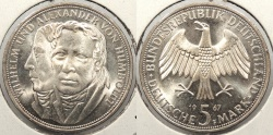 World Coins - GERMANY: Federal Republic 1967-F Humboldt 5 Mark