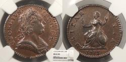World Coins - GREAT BRITAIN George III 1773 Farthing NGC MS-62 BN