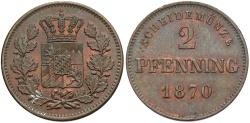 World Coins - GERMANY: Bavaria 1870 2 Pfennig