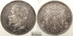 World Coins - FRANCE: 1867-A 5 Francs ANACS EF-45