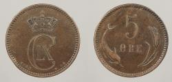 World Coins - DENMARK: 1890 5 Ore