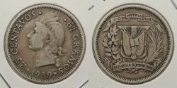World Coins - DOMINICAN REPUBLIC: 1939 25 Centavos