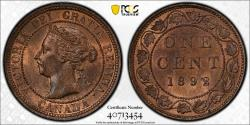 World Coins - CANADA Victoria 1892 Cent PCGS MS-64 RB