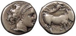 Ancient Coins - Campania Neapolis c. 300-275 B.C. Nomos Good VF