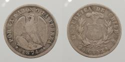 World Coins - CHILE: 1874-So 20 Centavos