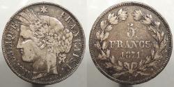 World Coins - FRANCE: 1871-k 5 Francs