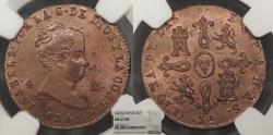 World Coins - SPAIN Isabella II 1847 JA 4 Maravedis NGC MS-63 RB