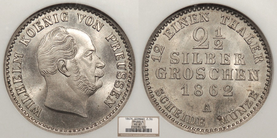 World Coins - GERMAN STATES Prussia Wilhelm I 1862-A 2 1/2 Silber Groschen NGC MS-67