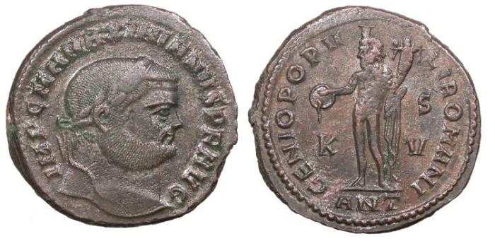 Ancient Coins - Maximianus 286-305 A.D. Follis Antioch Mint Good VF