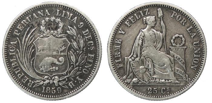 World Coins - PERU Republic 1859 25 Centavos Good VF