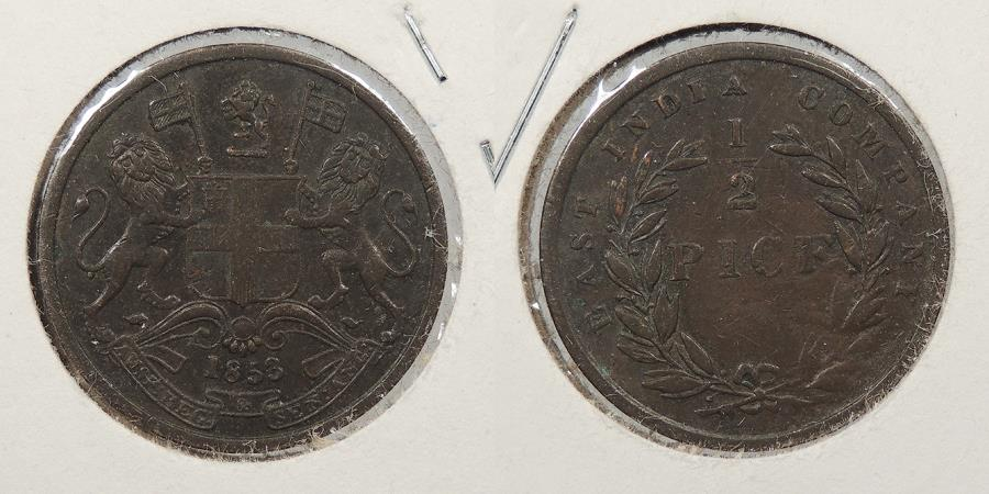 World Coins - INDIA: 1853 1/2 Pice