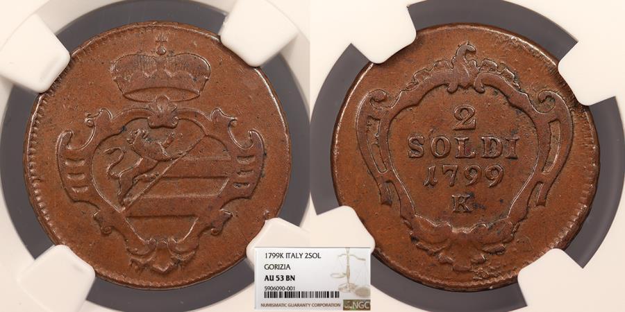 World Coins - ITALIAN STATES Gorizia Francesco II 1799-K 2 Soldi NGC AU-53 BN