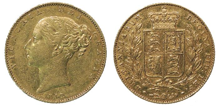 World Coins - GREAT BRITAIN Victoria 1842 (open 2) Sovereign VF