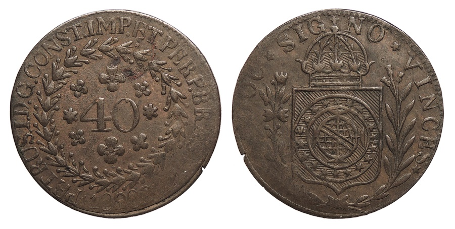 World Coins - BRAZIL Pedro I 1828-C Contemporary Counterfeit (?) 40 Reis VF