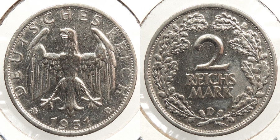 World Coins - GERMANY: 1931-D Better date 2 Reichsmark