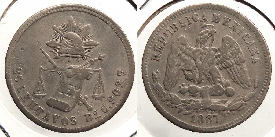 World Coins - MEXICO: Durango 1887-Do C 25 Centavos