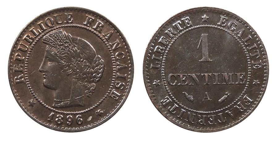 World Coins - FRANCE 1896-A Centime UNC