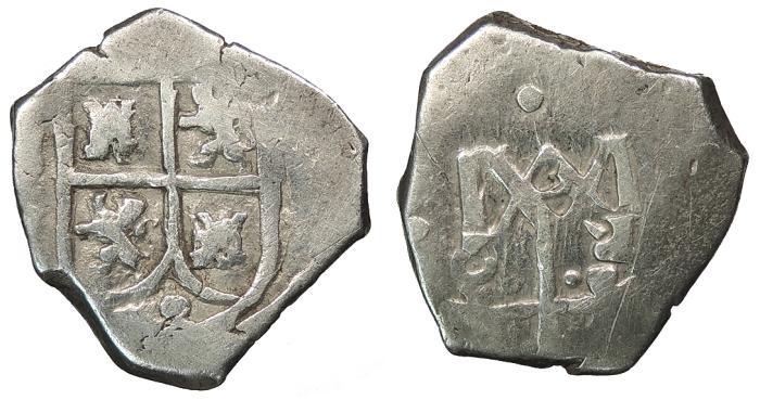 World Coins - SPAIN Carlos (Charles) II ND (1686-1699) Cob 2 Reales VF