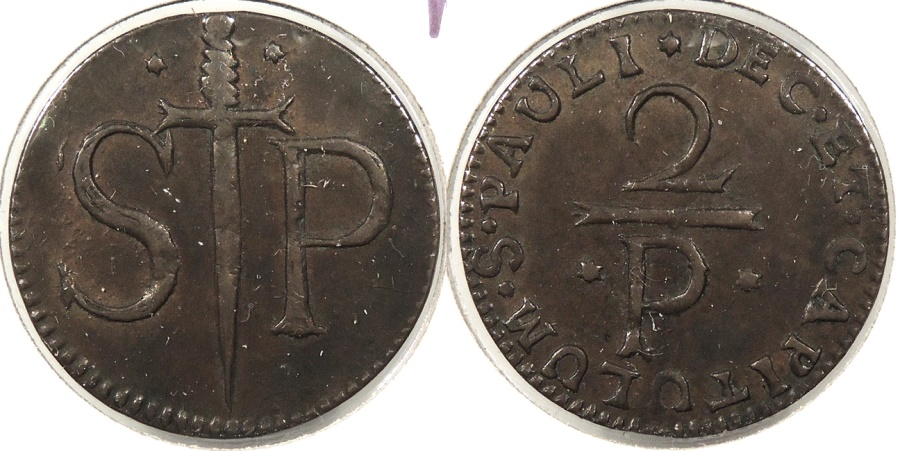 World Coins - BELGIUM: Liege (Lowlands) 17th-18th C. St. Paul's Cathedral. 28mm Mereau #WC63694